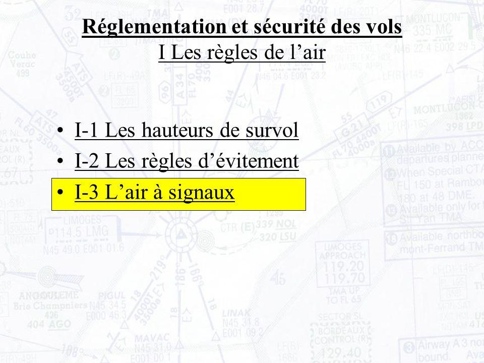 I-1 Les hauteurs de survol I-2 Les règles dévitement I-3 Lair à signaux Réglementation et sécurité des vols I Les règles de lair