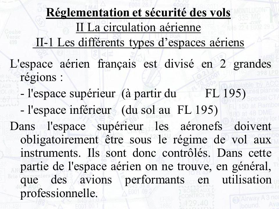L espace aérien français est divisé en 2 grandes régions : - l espace supérieur (à partir du FL 195) - l espace inférieur (du sol au FL 195) Dans l espace supérieur les aéronefs doivent obligatoirement être sous le régime de vol aux instruments.