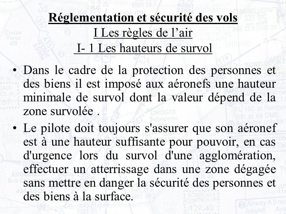 Dans le cadre de la protection des personnes et des biens il est imposé aux aéronefs une hauteur minimale de survol dont la valeur dépend de la zone survolée.