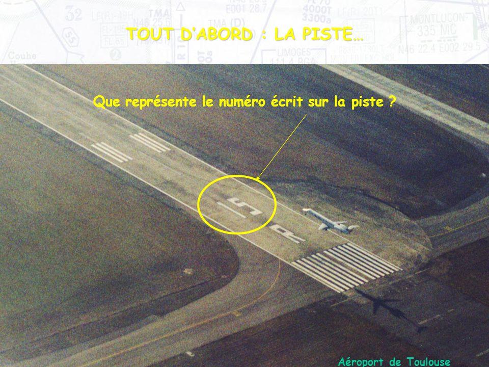 TOUT DABORD : LA PISTE… Que représente le numéro écrit sur la piste ? Aéroport de Toulouse Blagnac