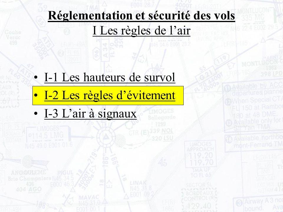 Réglementation et sécurité des vols I Les règles de lair I-1 Les hauteurs de survol I-2 Les règles dévitement I-3 Lair à signaux