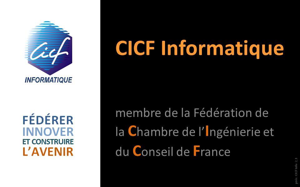 CICF Informatique membre de la Fédération de la C hambre de l I ngénierie et du C onseil de F rance prés. CICF Info 2,1