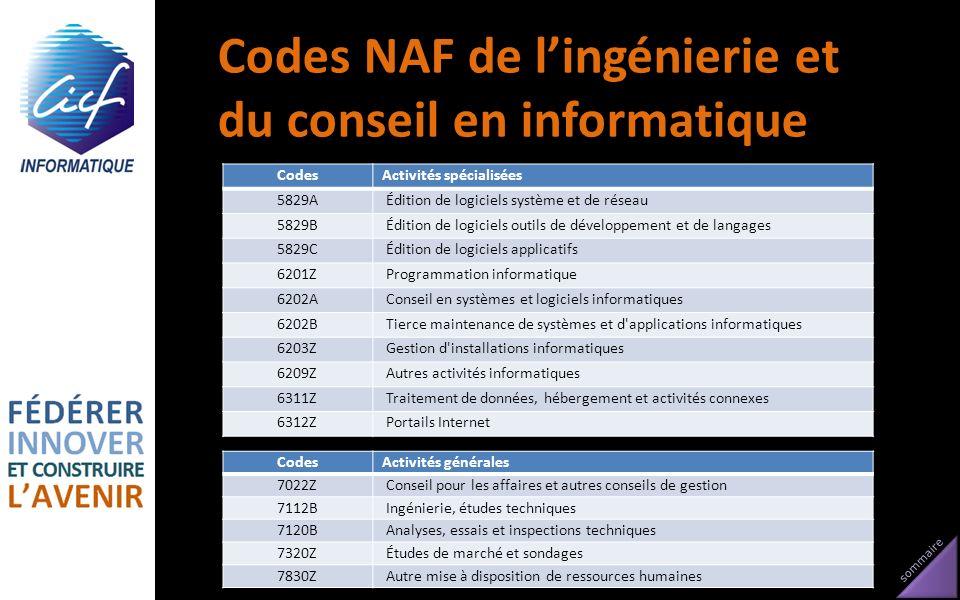 sommaire Codes NAF de lingénierie et du conseil en informatique CodesActivités spécialisées 5829A Édition de logiciels système et de réseau 5829B Édit