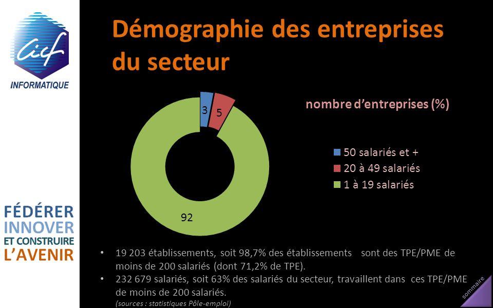 sommaire Démographie des entreprises du secteur 19 203 établissements, soit 98,7% des établissements sont des TPE/PME de moins de 200 salariés (dont 7