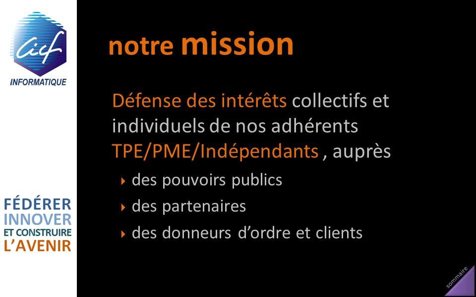 sommaire notre mission Défense des intérêts collectifs et individuels de nos adhérents TPE/PME/Indépendants, auprès des pouvoirs publics des partenair