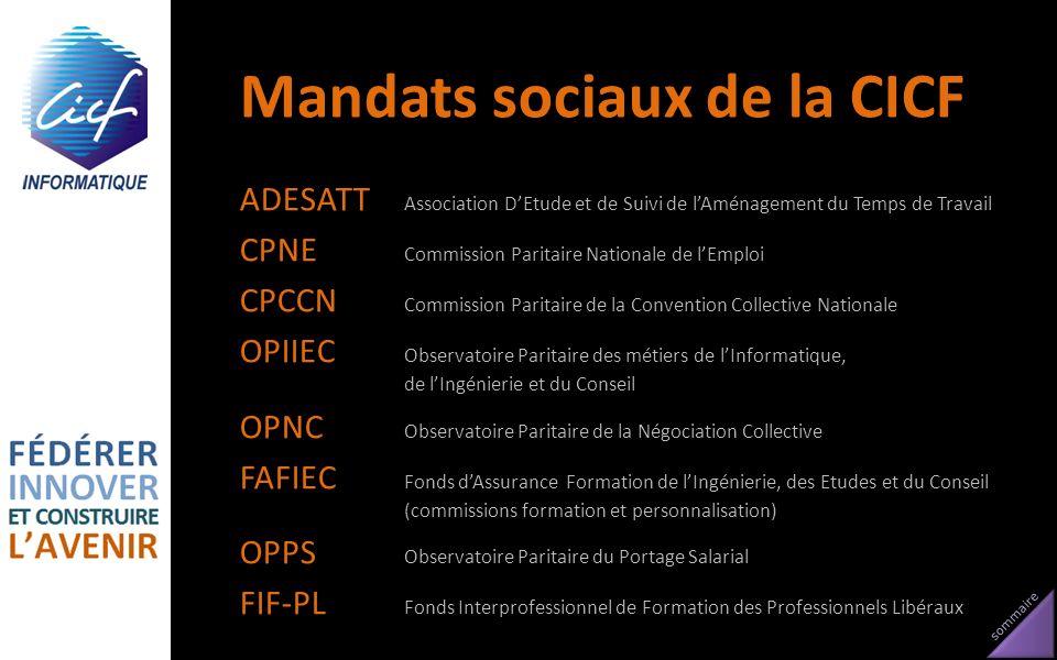 sommaire Mandats sociaux de la CICF ADESATT Association DEtude et de Suivi de lAménagement du Temps de Travail CPNE Commission Paritaire Nationale de