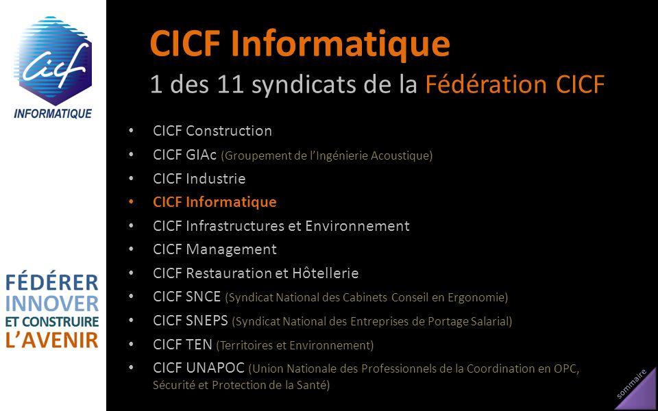 sommaire CICF Informatique 1 des 11 syndicats de la Fédération CICF CICF Construction CICF GIAc (Groupement de lIngénierie Acoustique) CICF Industrie