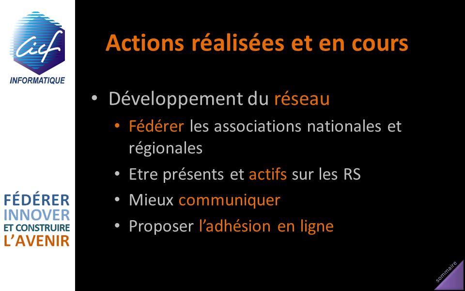 sommaire Actions réalisées et en cours Développement du réseau Fédérer les associations nationales et régionales Etre présents et actifs sur les RS Mi