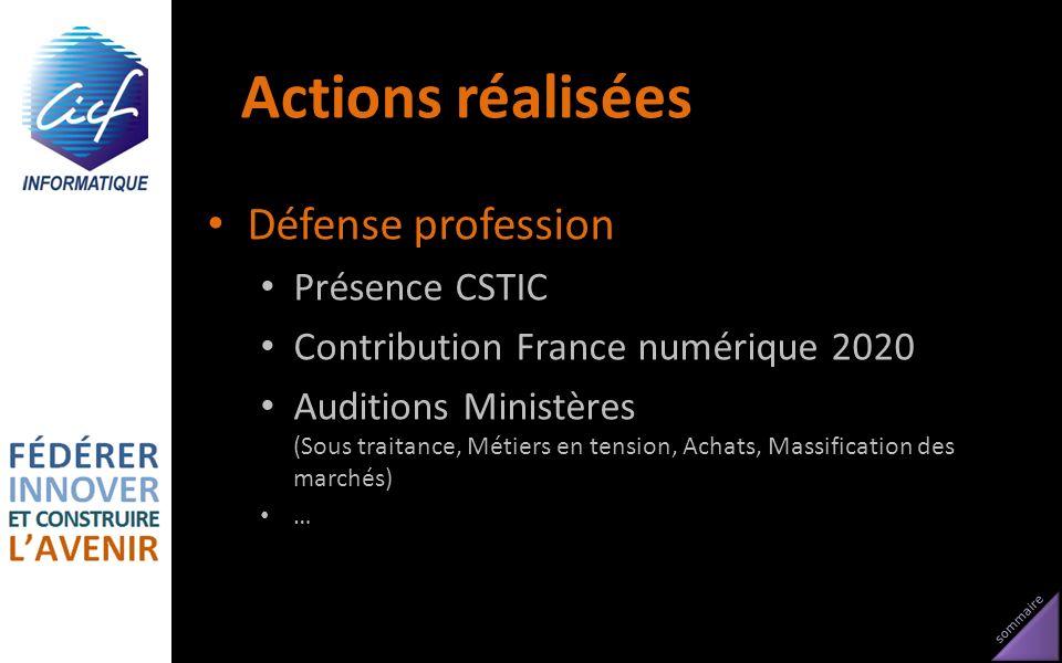 sommaire Actions réalisées Défense profession Présence CSTIC Contribution France numérique 2020 Auditions Ministères (Sous traitance, Métiers en tensi