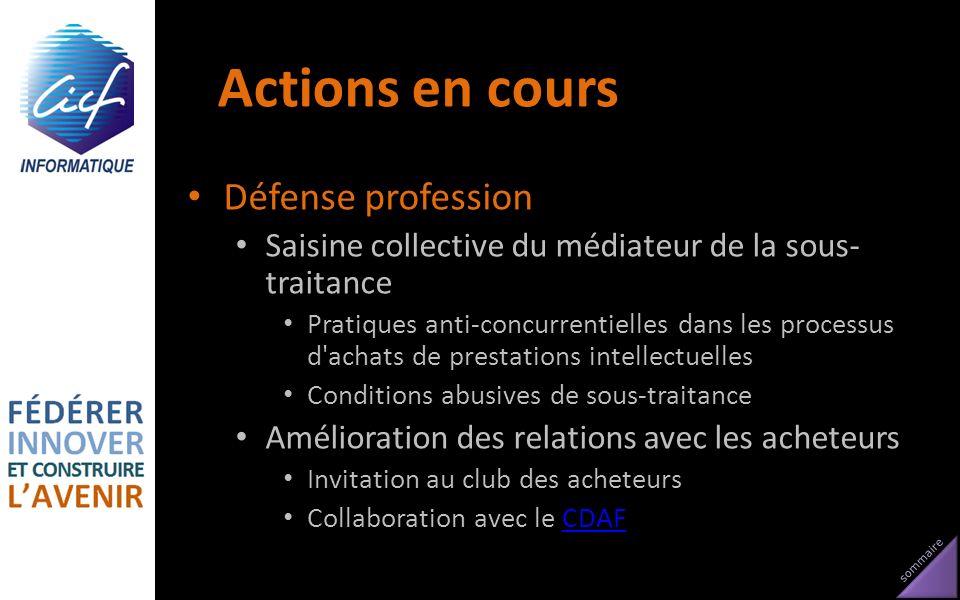 sommaire Actions en cours Défense profession Saisine collective du médiateur de la sous- traitance Pratiques anti-concurrentielles dans les processus