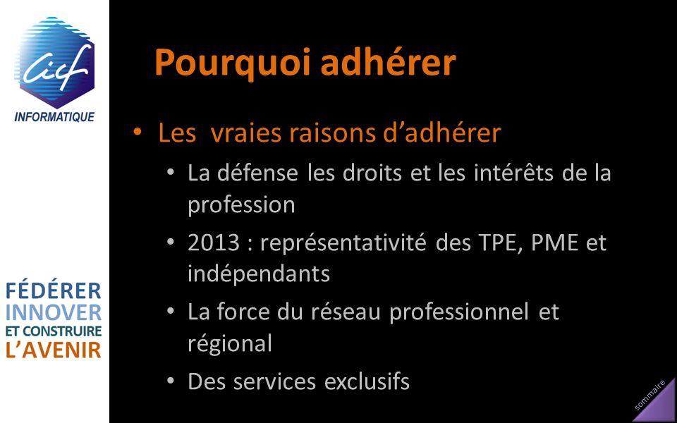 sommaire Pourquoi adhérer Les vraies raisons dadhérer La défense les droits et les intérêts de la profession 2013 : représentativité des TPE, PME et i