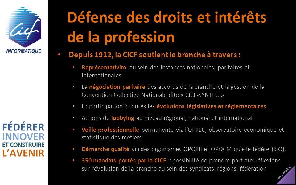 sommaire Défense des droits et intérêts de la profession Depuis 1912, la CICF soutient la branche à travers : Représentativité au sein des instances n