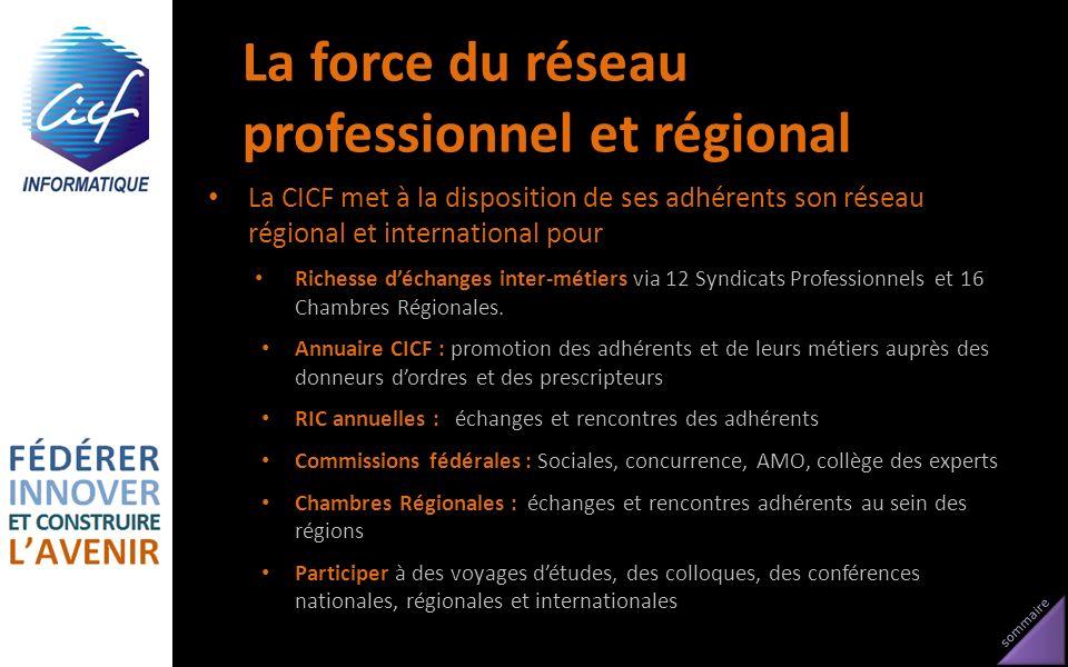 sommaire La force du réseau professionnel et régional La CICF met à la disposition de ses adhérents son réseau régional et international pour Richesse