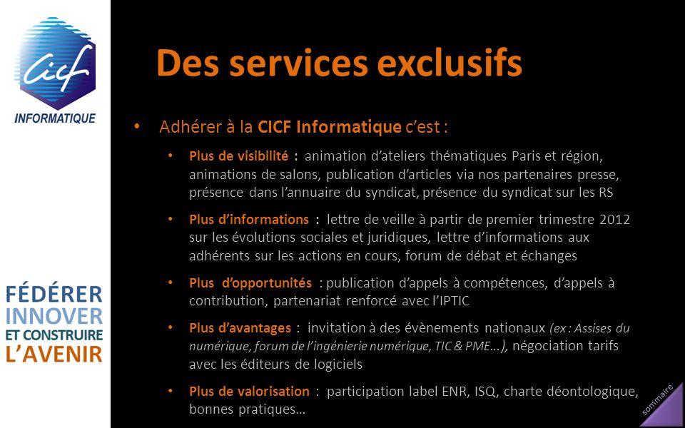 sommaire Des services exclusifs Adhérer à la CICF Informatique cest : Plus de visibilité : animation dateliers thématiques Paris et région, animations