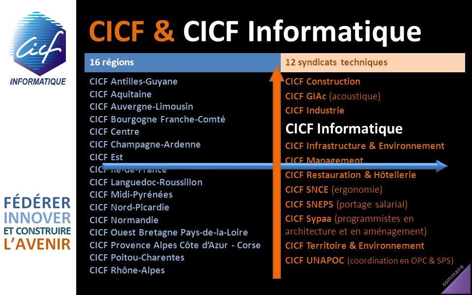 sommaire 16 régions12 syndicats techniques CICF Antilles-Guyane CICF Aquitaine CICF Auvergne-Limousin CICF Bourgogne Franche-Comté CICF Centre CICF Ch