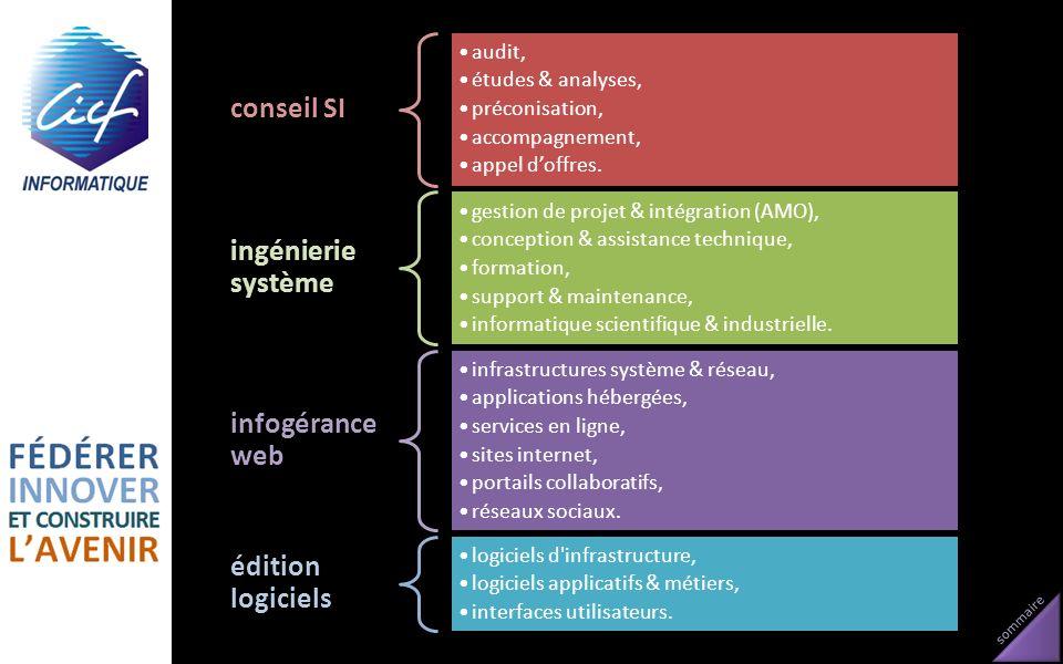 sommaire conseil SI audit, études & analyses, préconisation, accompagnement, appel doffres. ingénierie système gestion de projet & intégration (AMO),