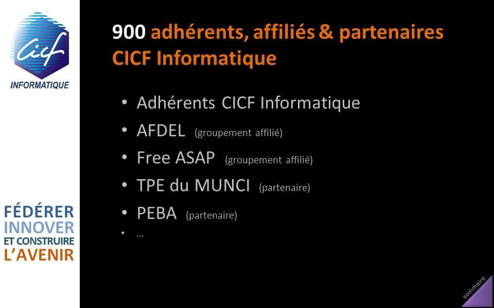 sommaire 900 adhérents, affiliés & partenaires CICF Informatique Adhérents CICF Informatique AFDEL (groupement affilié) Free ASAP (groupement affilié)