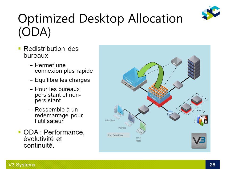 Optimized Desktop Allocation (ODA) V3 Systems 26 Redistribution des bureaux Permet une connexion plus rapide Equilibre les charges Pour les bureaux pe