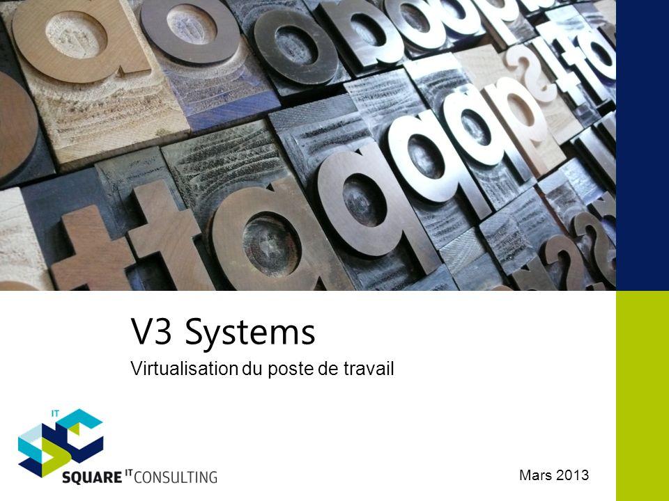 Architecture V3 Solution clef en main V3 Systems 17 Postes utilisateur Haute Performance Centré sur le calcul local (OS, fichiers temporaires, RAM) Expérience améliorée pour les utilisateurs et les administrateurs Performance, disponibilité et utilisation garantie