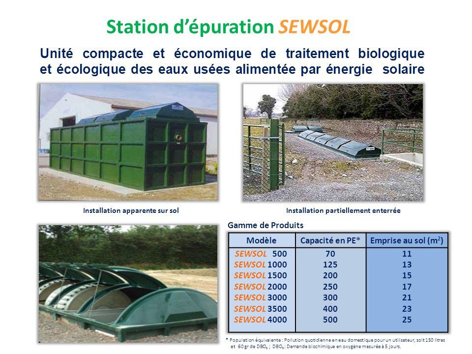 Station dépuration SEWSOL Unité compacte et économique de traitement biologique et écologique des eaux usées alimentée par énergie solaire Installatio