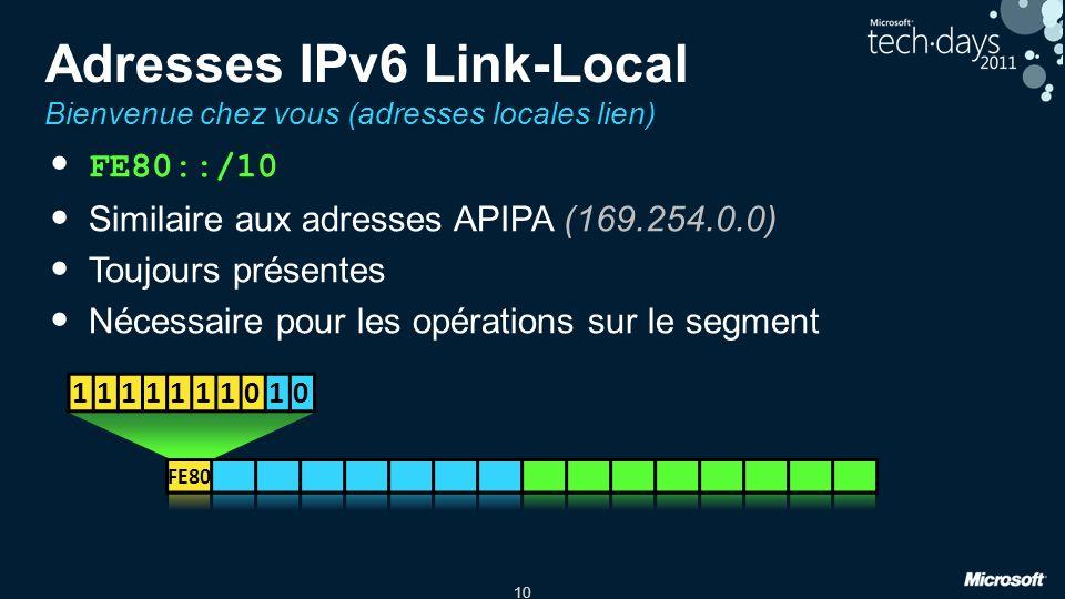 10 Adresses IPv6 Link-Local Bienvenue chez vous (adresses locales lien) FE80::/10 Similaire aux adresses APIPA (169.254.0.0) Toujours présentes Nécess