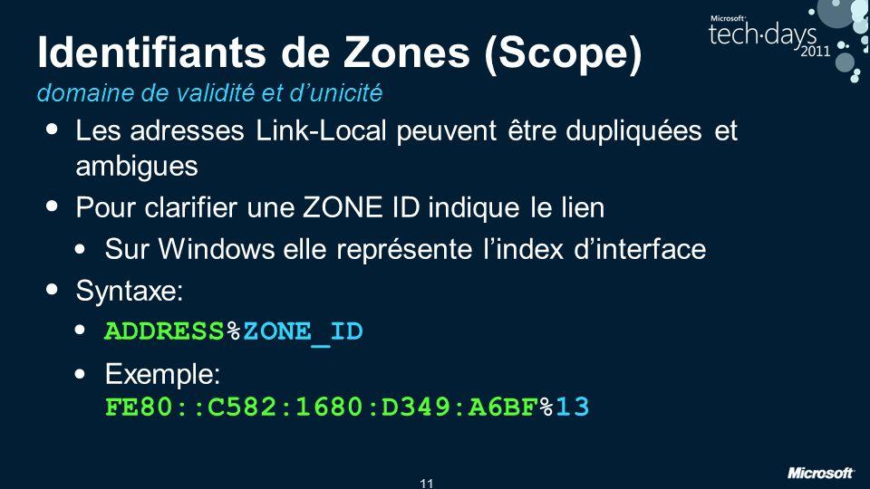 11 Identifiants de Zones (Scope) domaine de validité et dunicité Les adresses Link-Local peuvent être dupliquées et ambigues Pour clarifier une ZONE I
