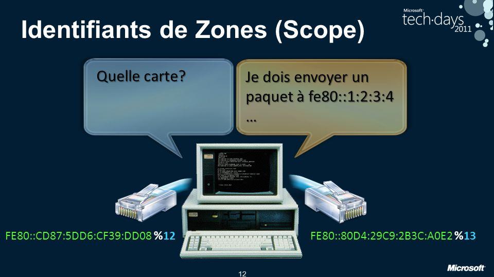 12 Identifiants de Zones (Scope) FE80::CD87:5DD6:CF39:DD08FE80::80D4:29C9:2B3C:A0E2%12%13