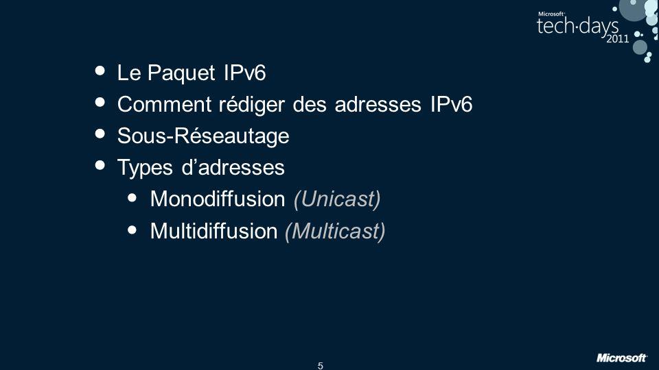 16 Adresses de Multicast Fréquentes Exemples Nœuds/Lien FF01::1 – Interface-Local tous les Nœuds FF02::1 – Link-Local tous les Nœuds FF02::1:2 – Tous les serveurs DHCP FF02::1:3 – LLMNR : Link-Local Multicast Name Resolution Routeurs FF01::2 – Interface-Local tous les Routeurs FF02::2 – Link-Local tous les Routeurs FF05::2 – Site-Local tous les Routeurs