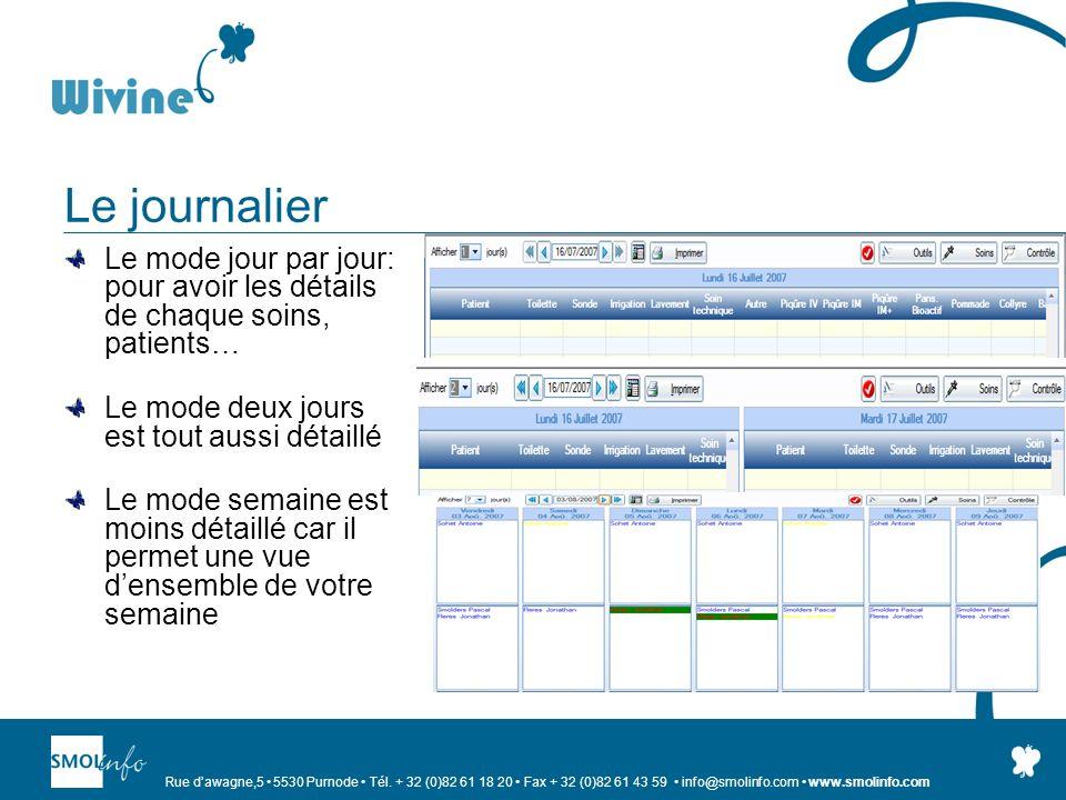 Rue dawagne,5 5530 Purnode Tél. + 32 (0)82 61 18 20 Fax + 32 (0)82 61 43 59 info@smolinfo.com www.smolinfo.com Le journalier Le mode jour par jour: po