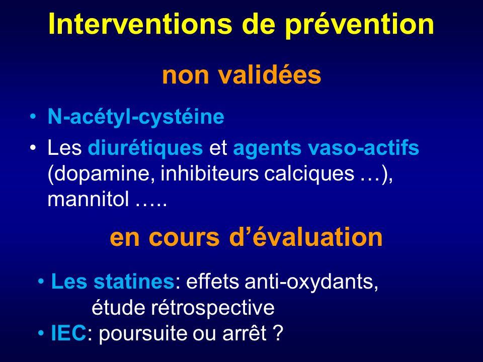 Interventions de prévention non validées N-acétyl-cystéine Les diurétiques et agents vaso-actifs (dopamine, inhibiteurs calciques …), mannitol …..
