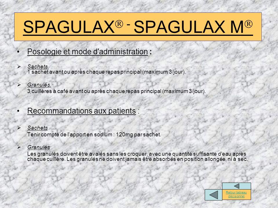 SPAGULAX - SPAGULAX M Posologie et mode d'administration : Sachets. 1 sachet avant ou après chaque repas principal (maximum 3/jour). Granulés. 3 cuill