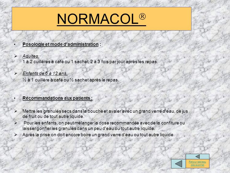 NORMACOL Posologie et mode d'administration : Adultes. 1 à 2 cuillères à café ou 1 sachet, 2 à 3 fois par jour après les repas. Enfants de 6 à 12 ans.