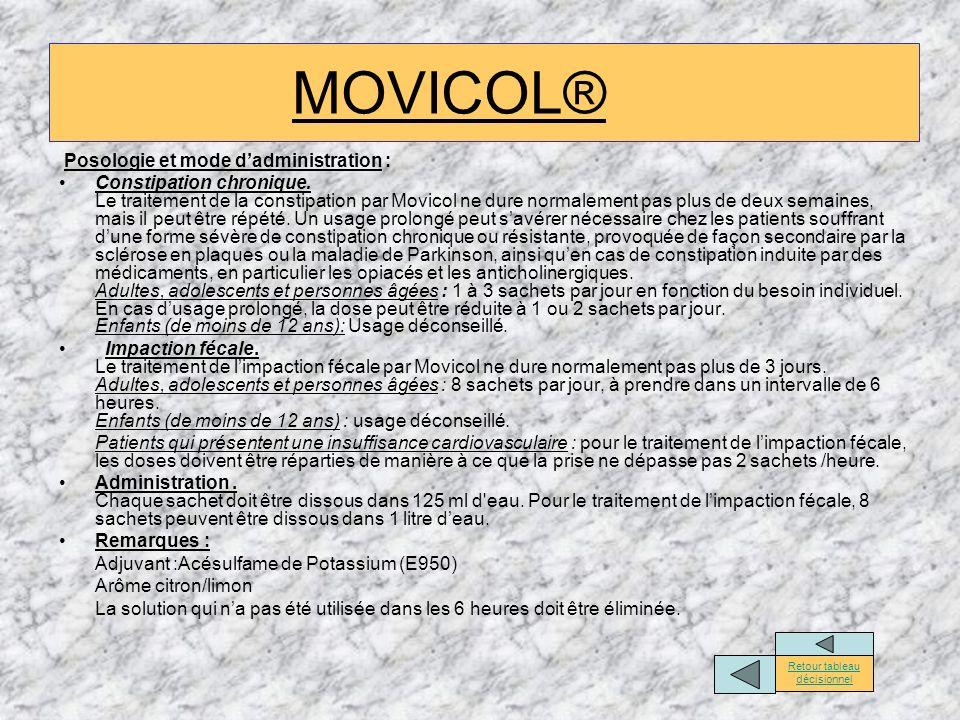 Posologie et mode dadministration : Constipation chronique. Le traitement de la constipation par Movicol ne dure normalement pas plus de deux semaines