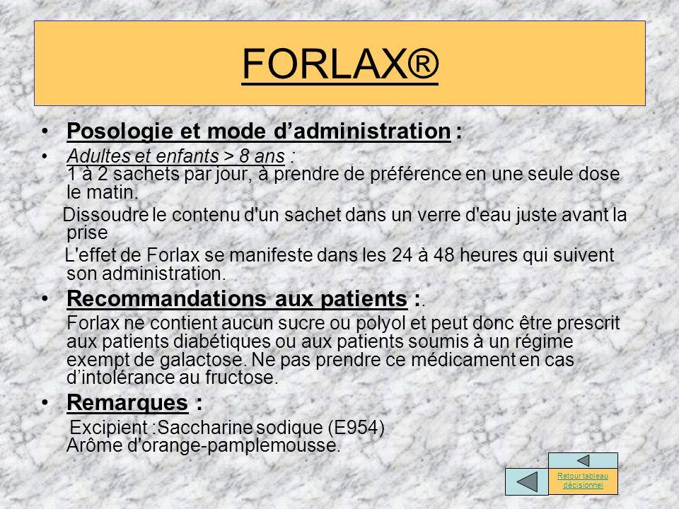 FORLAX® Posologie et mode dadministration : Adultes et enfants > 8 ans : 1 à 2 sachets par jour, à prendre de préférence en une seule dose le matin. D