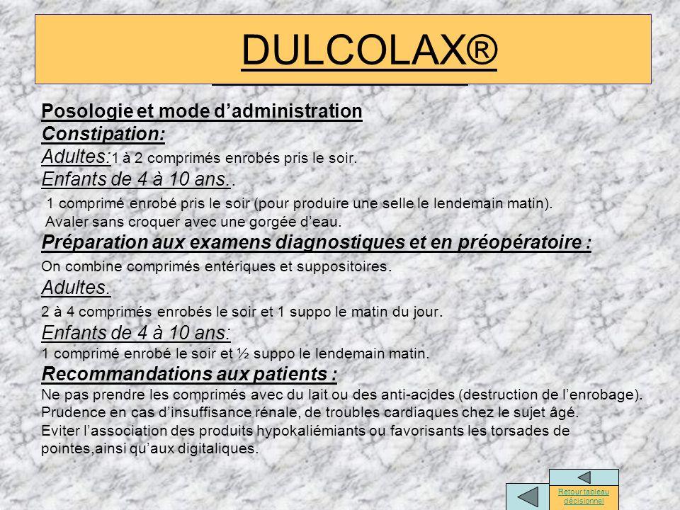 DULCOLAX® Posologie et mode dadministration Constipation: Adultes: 1 à 2 comprimés enrobés pris le soir. Enfants de 4 à 10 ans.. 1 comprimé enrobé pri