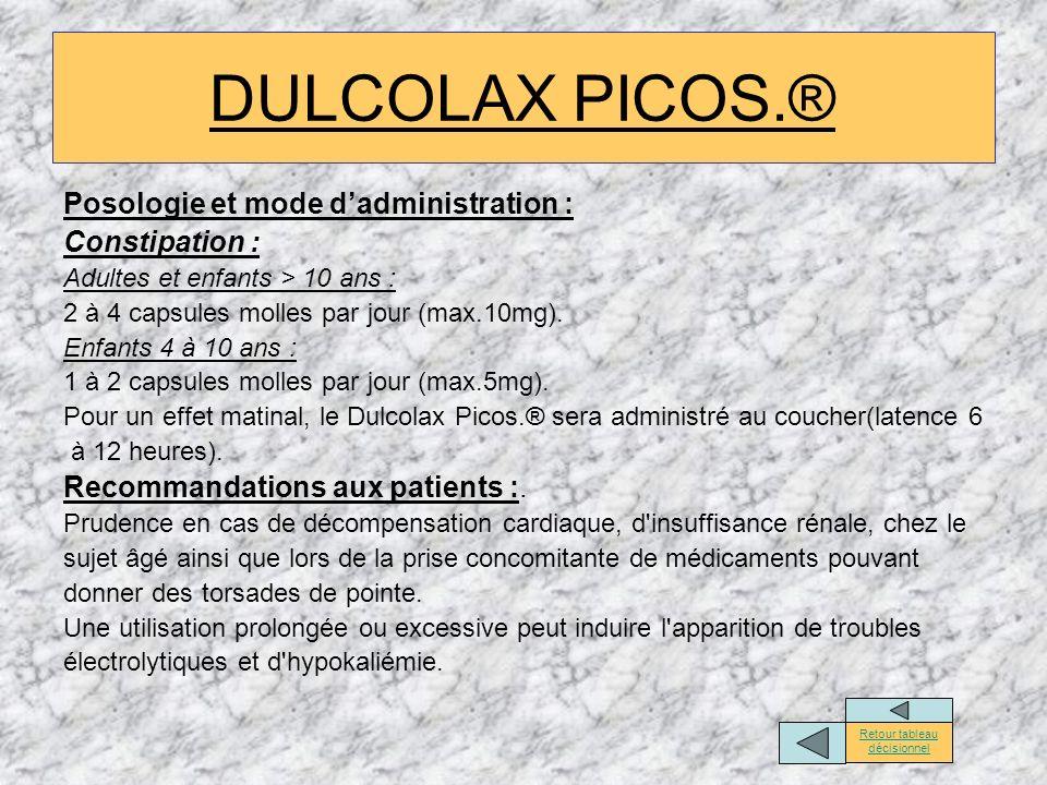Posologie et mode dadministration : Constipation : Adultes et enfants > 10 ans : 2 à 4 capsules molles par jour (max.10mg). Enfants 4 à 10 ans : 1 à 2