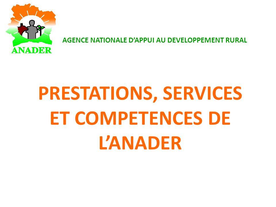 PRESTATIONS, SERVICES ET COMPETENCES DE LANADER AGENCE NATIONALE DAPPUI AU DEVELOPPEMENT RURAL