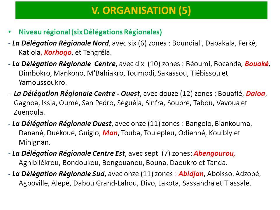 V. ORGANISATION (5) Niveau régional (six Délégations Régionales) - La Délégation Régionale Nord, avec six (6) zones : Boundiali, Dabakala, Ferké, Kati