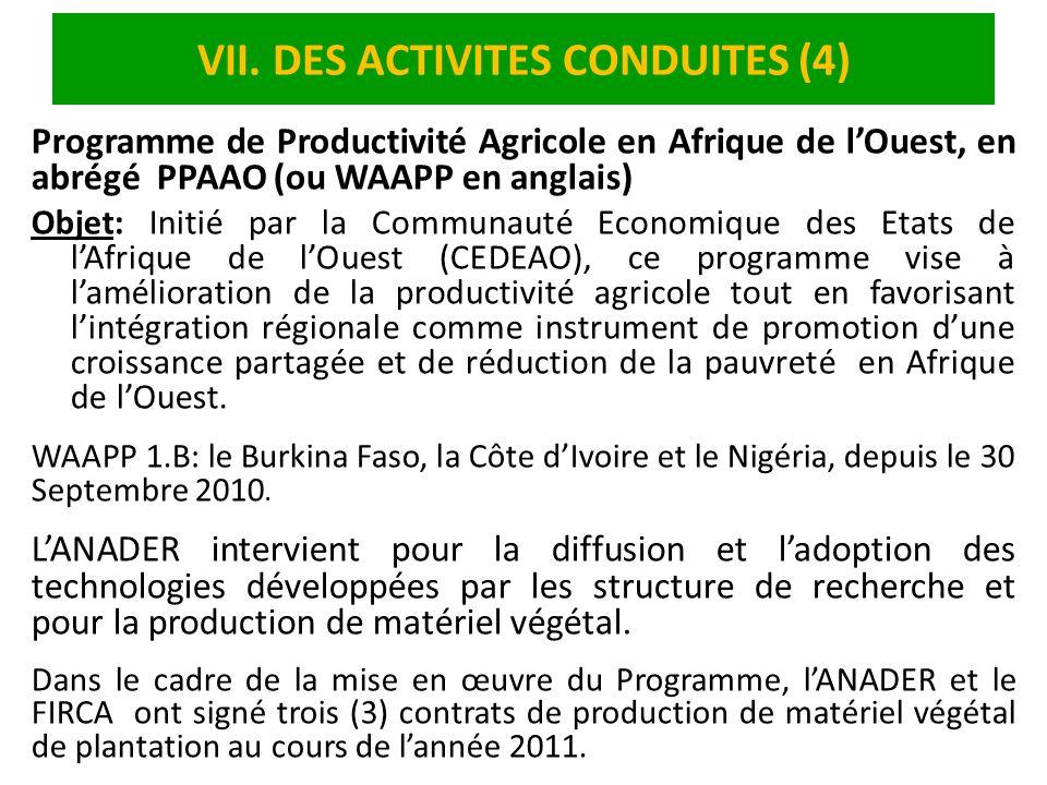 VII. DES ACTIVITES CONDUITES (4) Programme de Productivité Agricole en Afrique de lOuest, en abrégé PPAAO (ou WAAPP en anglais) Objet: Initié par la C