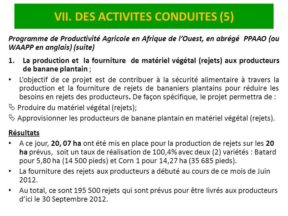 VII. DES ACTIVITES CONDUITES (5) Programme de Productivité Agricole en Afrique de lOuest, en abrégé PPAAO (ou WAAPP en anglais) (suite) 1.La productio
