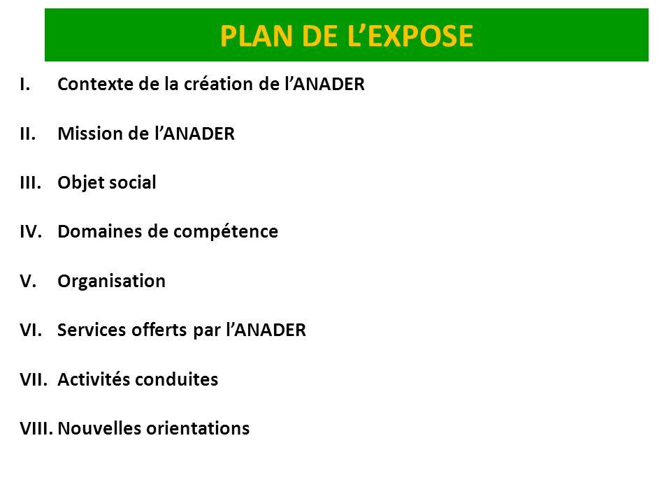 PLAN DE LEXPOSE I.Contexte de la création de lANADER II.Mission de lANADER III.Objet social IV.Domaines de compétence V.Organisation VI.Services offer