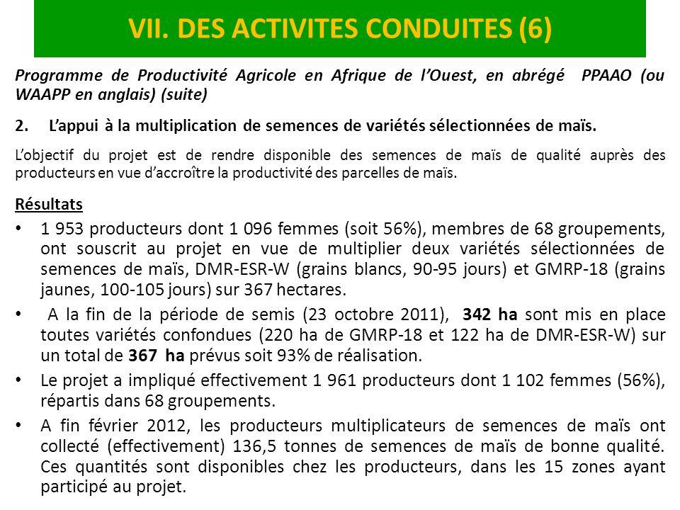 VII. DES ACTIVITES CONDUITES (6) Programme de Productivité Agricole en Afrique de lOuest, en abrégé PPAAO (ou WAAPP en anglais) (suite) 2.Lappui à la