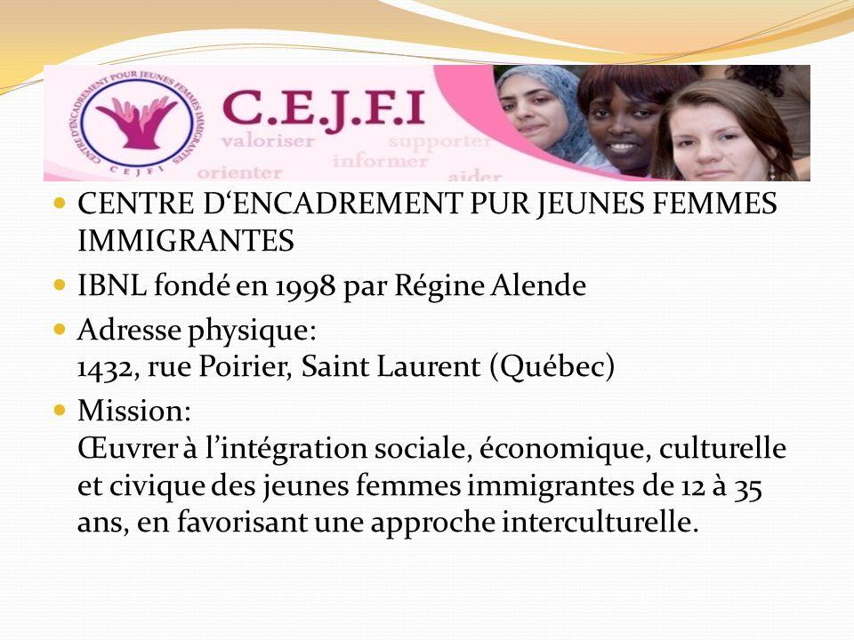CENTRE DENCADREMENT PUR JEUNES FEMMES IMMIGRANTES IBNL fondé en 1998 par Régine Alende Adresse physique: 1432, rue Poirier, Saint Laurent (Québec) Mission: Œuvrer à lintégration sociale, économique, culturelle et civique des jeunes femmes immigrantes de 12 à 35 ans, en favorisant une approche interculturelle.