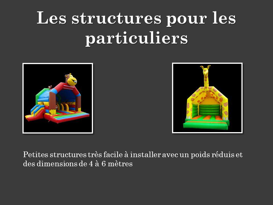 Petites structures très facile à installer avec un poids réduis et des dimensions de 4 à 6 mètres Les structures pour les particuliers