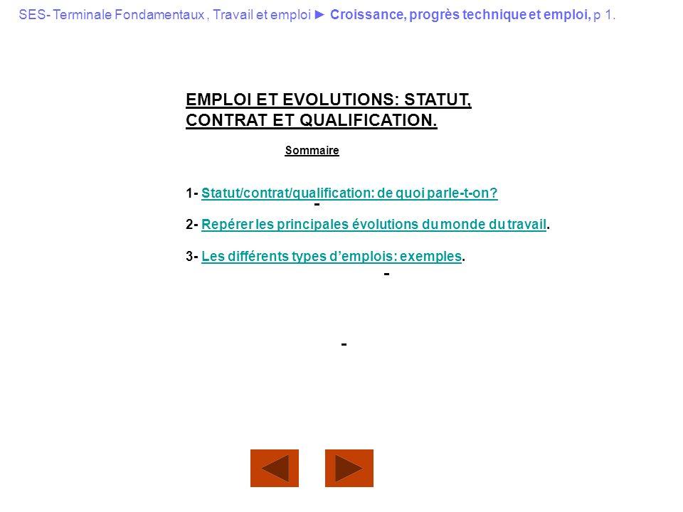 EMPLOI ET EVOLUTIONS: STATUT, CONTRAT ET QUALIFICATION. Sommaire 1- Statut/contrat/qualification: de quoi parle-t-on?Statut/contrat/qualification: de