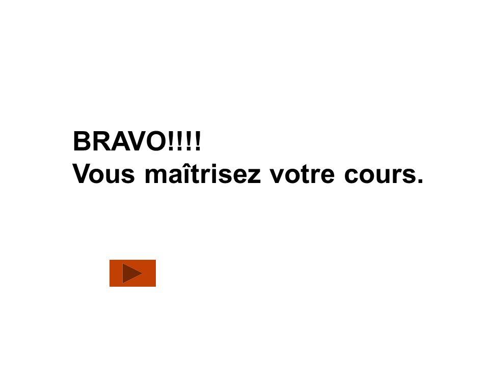 BRAVO!!!! Vous maîtrisez votre cours.