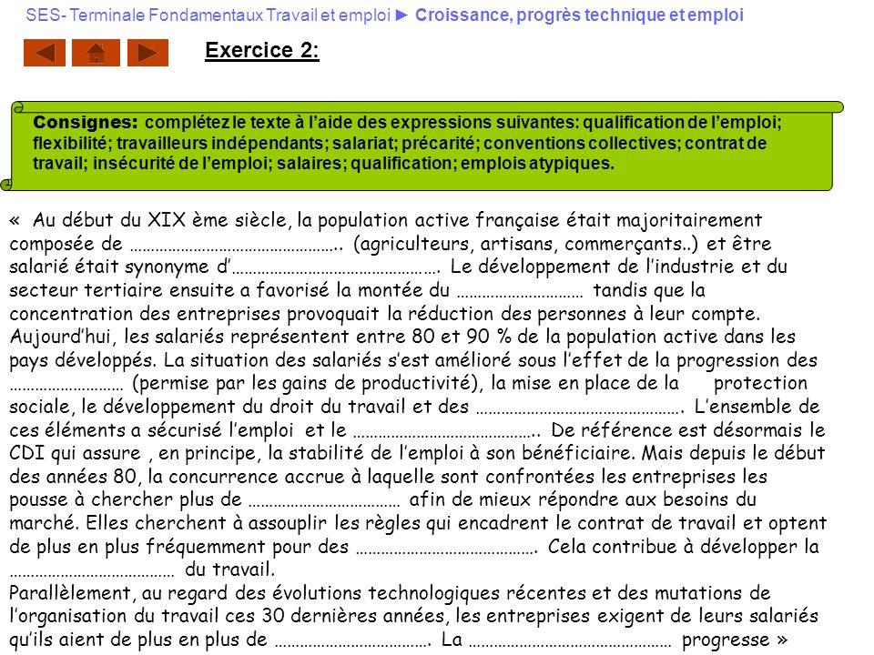 Exercice 2: « Au début du XIX ème siècle, la population active française était majoritairement composée de ………………………………………….. (agriculteurs, artisans,