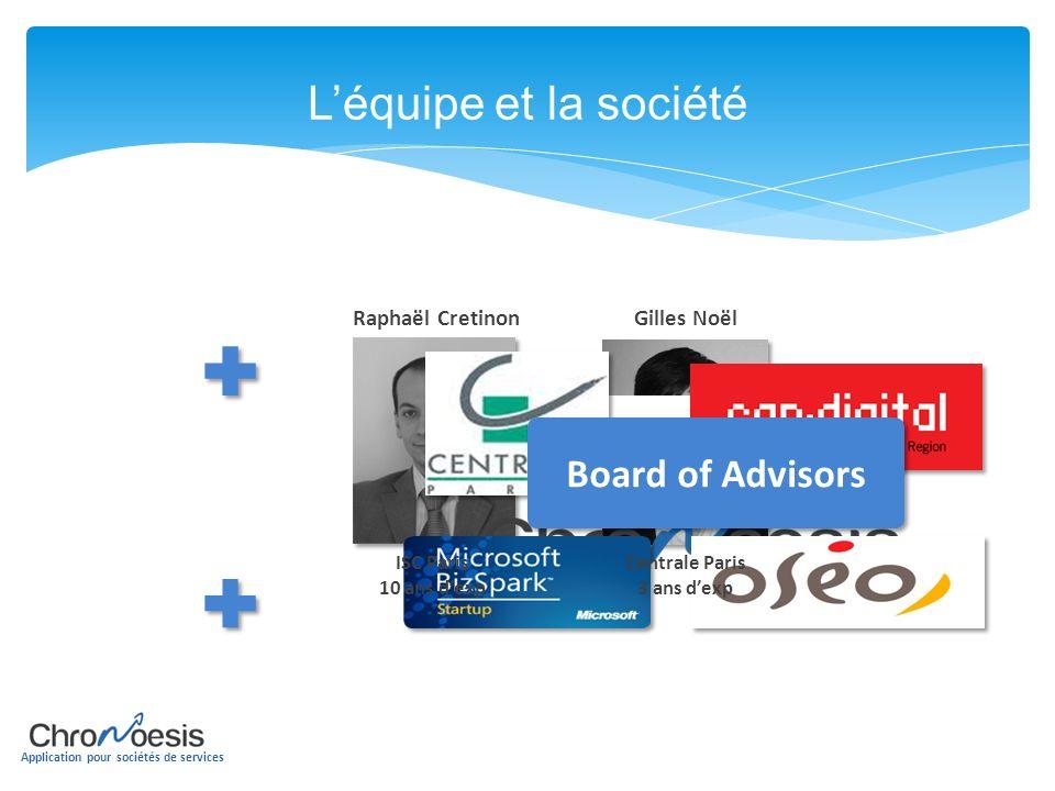 Application pour sociétés de services Léquipe et la société Board of Advisors Raphaël Cretinon ISC Paris 10 ans dexp Gilles Noël Centrale Paris 3 ans
