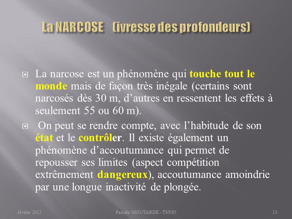 La narcose est un phénomène qui touche tout le monde mais de façon très inégale (certains sont narcosés dès 30 m, dautres en ressentent les effets à s