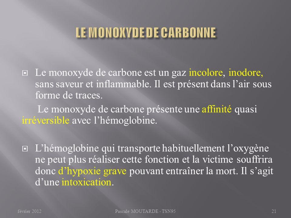 Le monoxyde de carbone est un gaz incolore, inodore, sans saveur et inflammable. Il est présent dans lair sous forme de traces. Le monoxyde de carbone